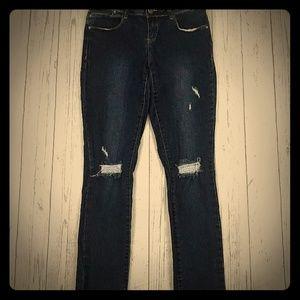 Harper dark wash ripped skinny jeans